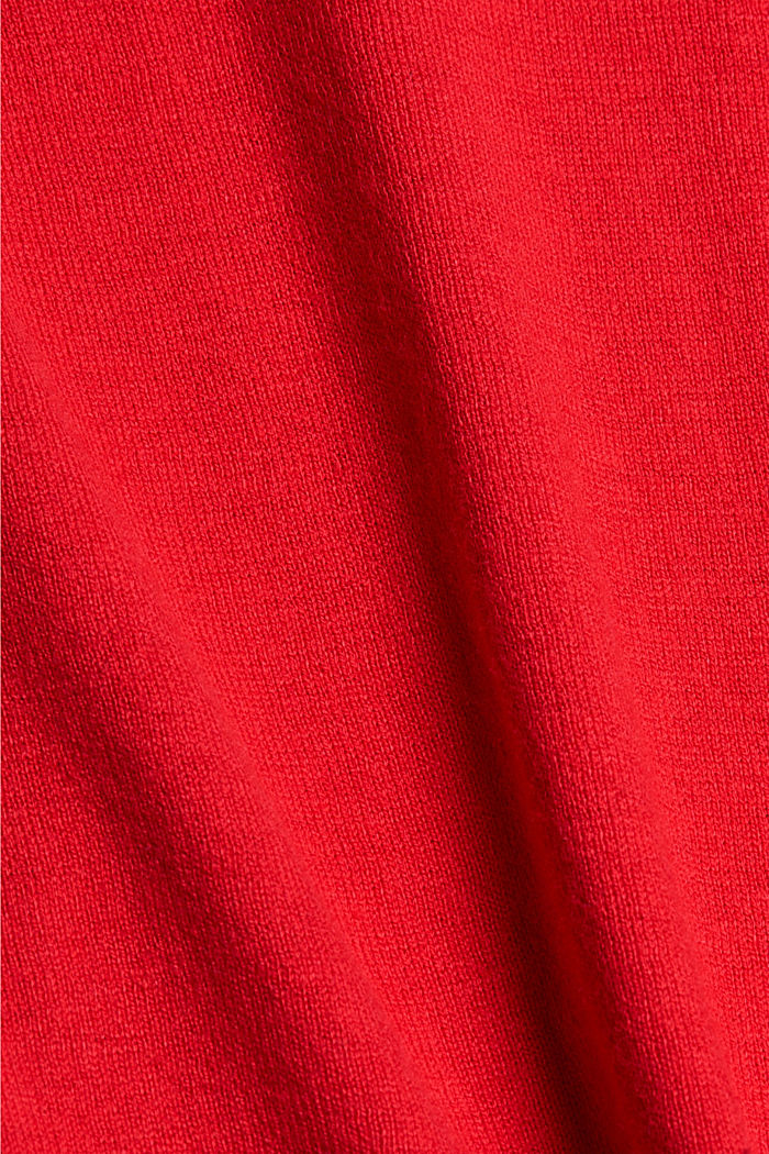 V-neck jumper containing organic cotton, RED, detail image number 4