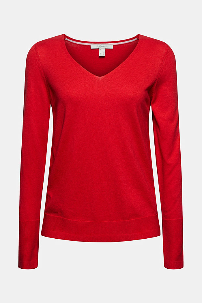 V-neck jumper containing organic cotton, RED, detail image number 7