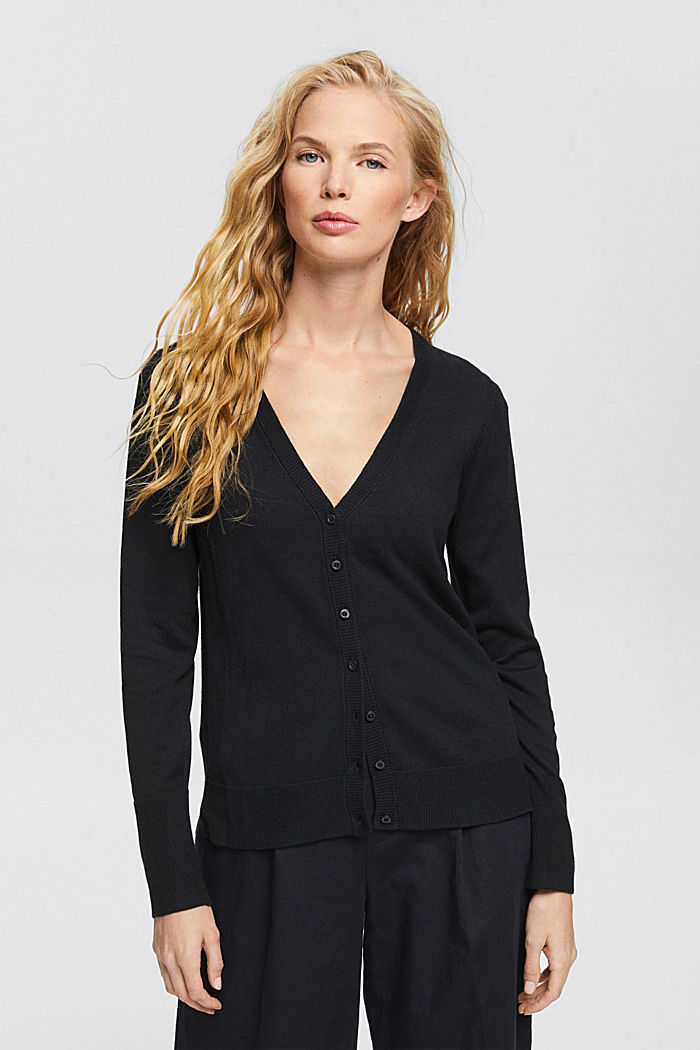 Basic V-neck cardigan with organic cotton, BLACK, detail image number 0