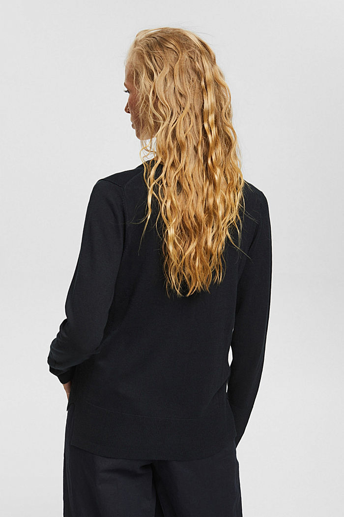 Basic V-neck cardigan with organic cotton, BLACK, detail image number 3