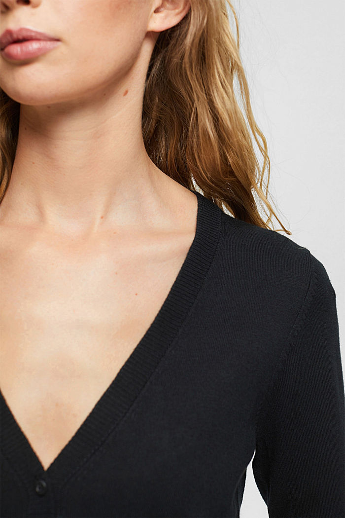 Basic V-neck cardigan with organic cotton, BLACK, detail image number 2
