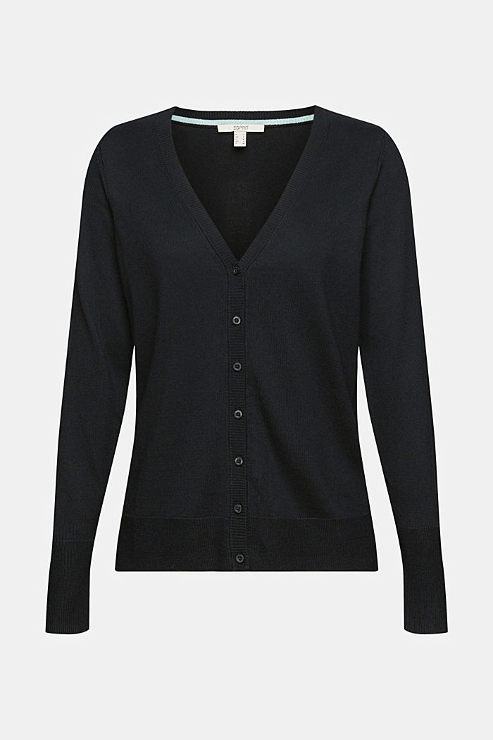 Basic V-neck cardigan with organic cotton, BLACK, detail image number 5