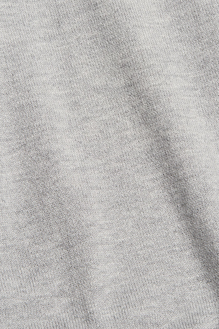V-hals met capuchon, van een mix met biologisch katoen, LIGHT GREY, detail image number 4