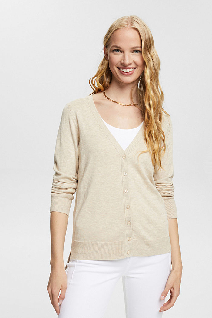 Basic V-neck cardigan with organic cotton, SAND, detail image number 0