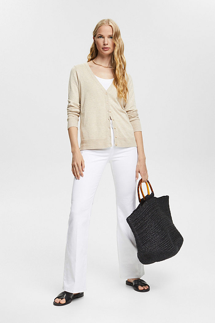 Basic V-neck cardigan with organic cotton, SAND, detail image number 1