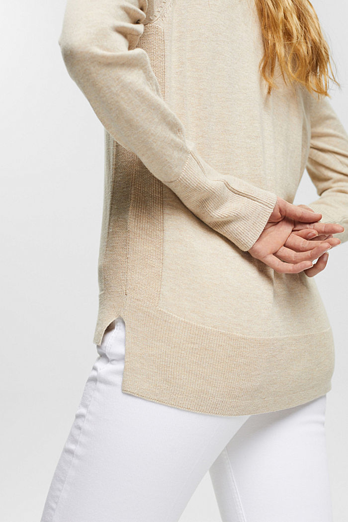 Basic V-neck cardigan with organic cotton, SAND, detail image number 2