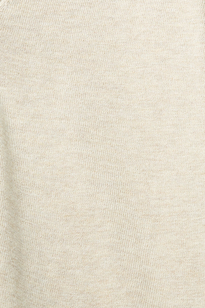 Basic V-neck cardigan with organic cotton, SAND, detail image number 4
