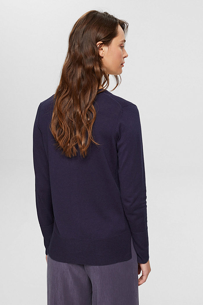 Basic V-neck cardigan with organic cotton, NAVY, detail image number 3