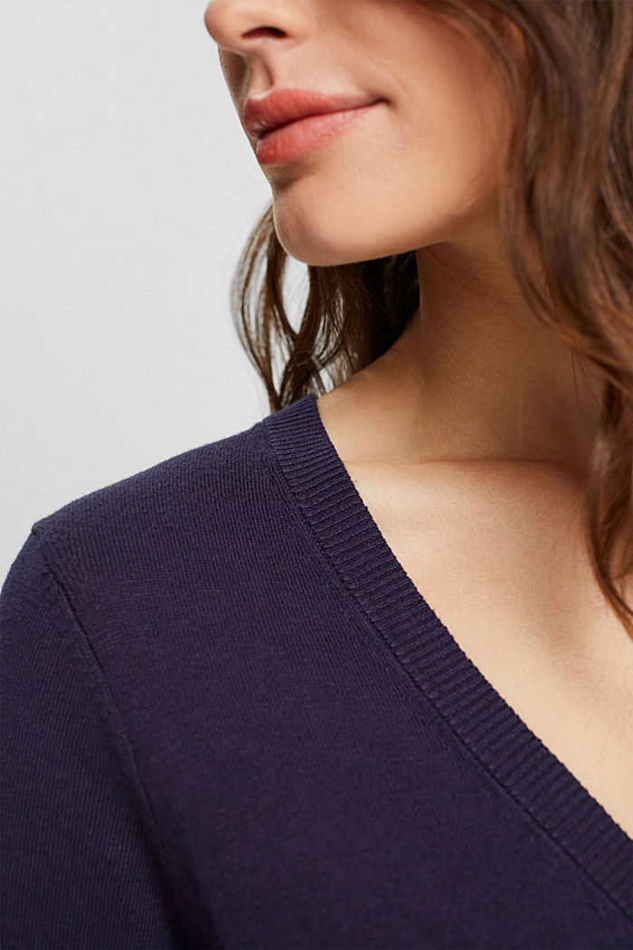 Basic V-neck cardigan with organic cotton, NAVY, detail image number 2