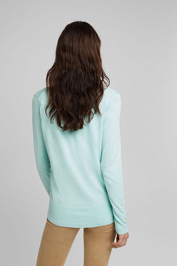 V-neck cardigan made of blended organic cotton, LIGHT TURQUOISE, detail image number 3