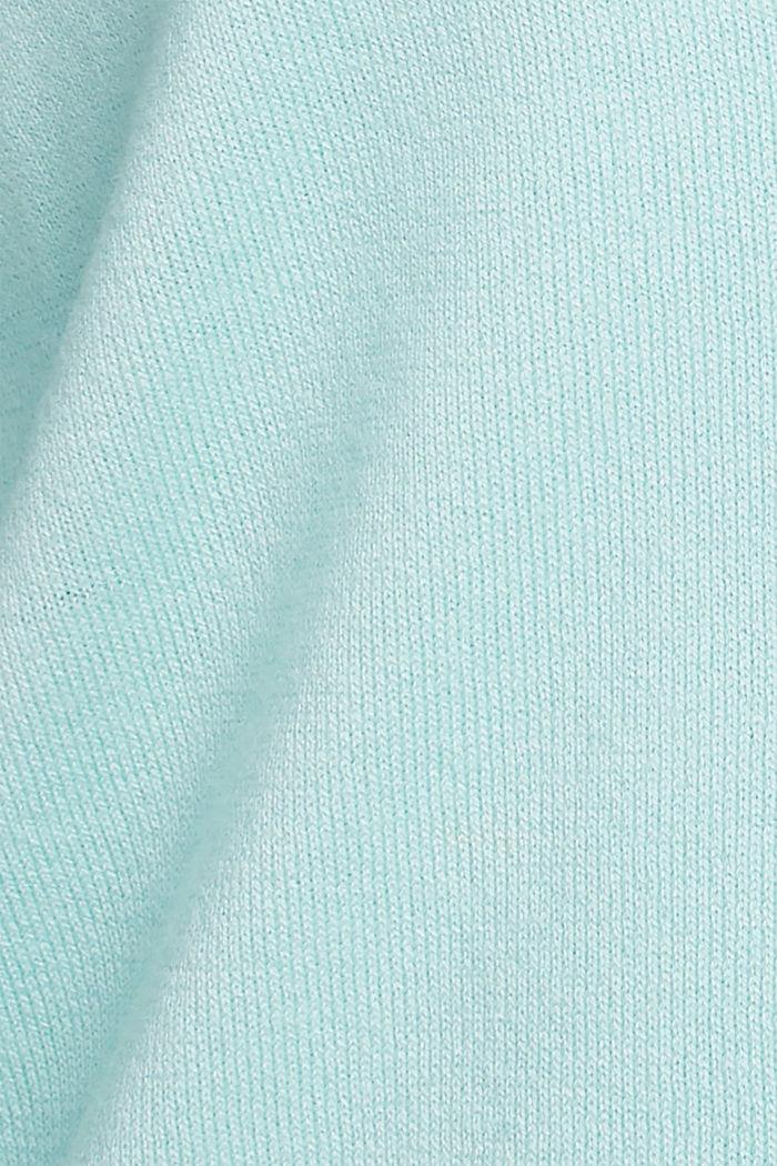 V-neck cardigan made of blended organic cotton, LIGHT TURQUOISE, detail image number 4