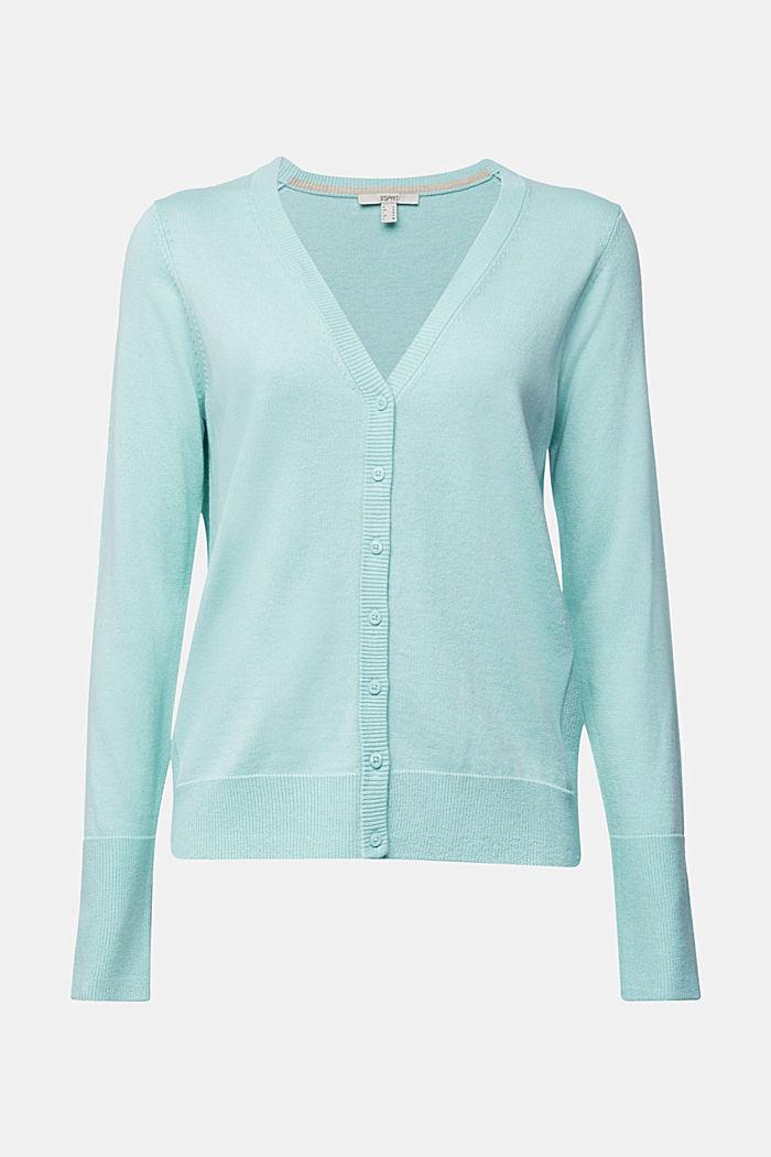 V-neck cardigan made of blended organic cotton, LIGHT TURQUOISE, detail image number 5