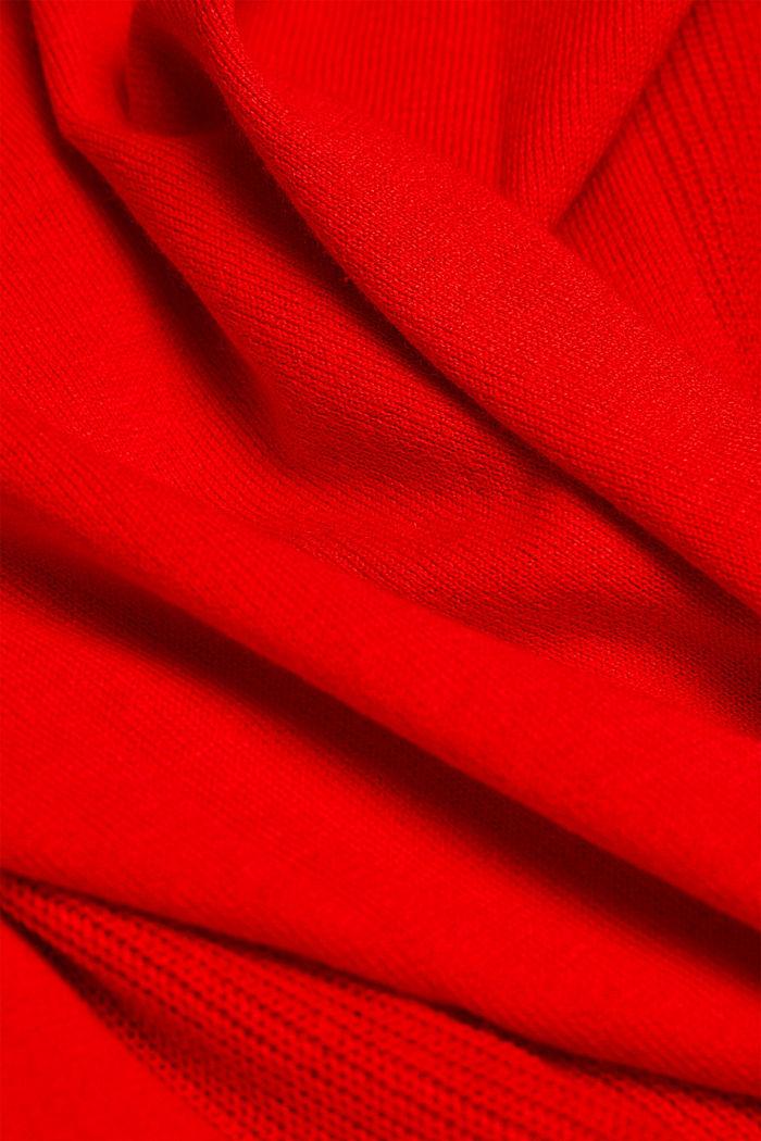Kardigan z wycięciem w serek z mieszanki z bawełną ekologiczną, RED, detail image number 4