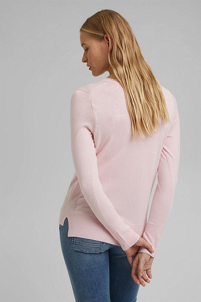 Basic V-neck cardigan with organic cotton, LIGHT PINK, detail image number 3