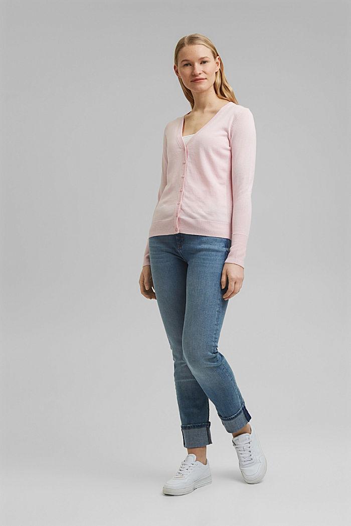 Basic V-neck cardigan with organic cotton, LIGHT PINK, detail image number 1