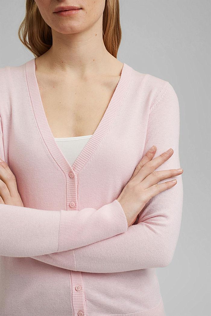 Basic V-neck cardigan with organic cotton, LIGHT PINK, detail image number 2