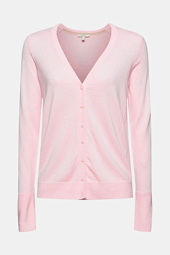 Basic V-neck cardigan with organic cotton, LIGHT PINK, detail image number 5