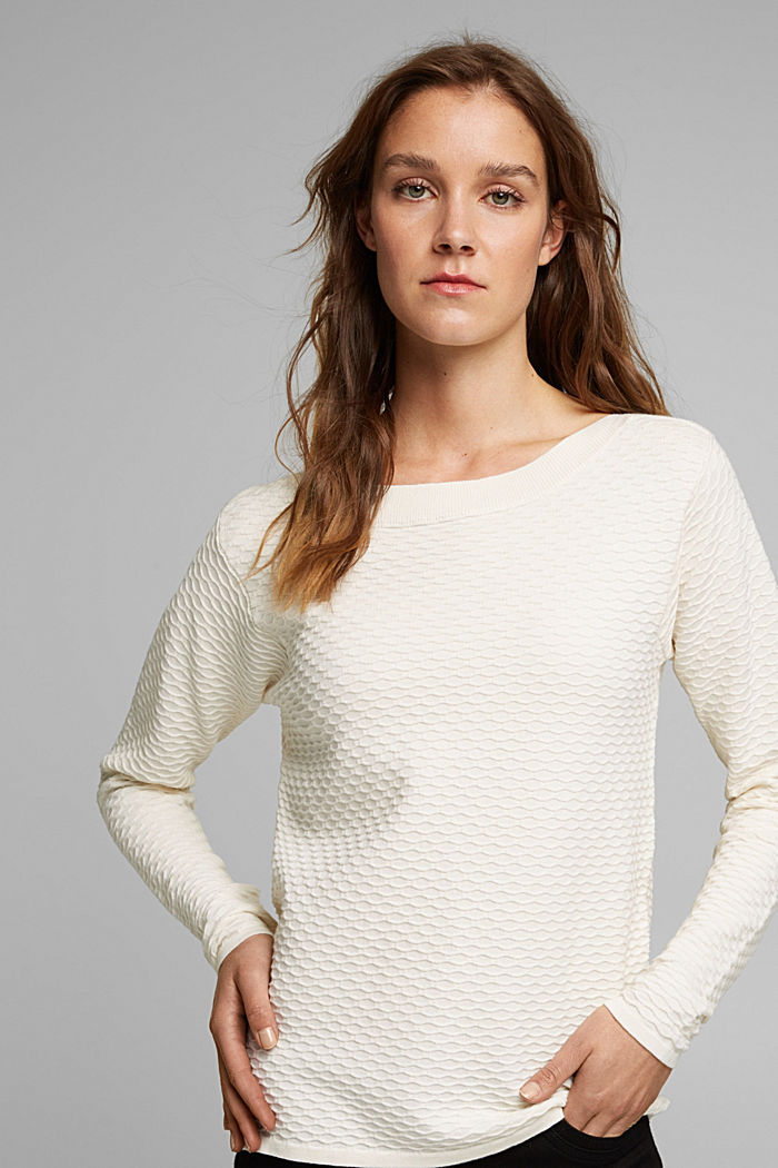 Textured jumper in blended cotton, OFF WHITE, detail image number 0