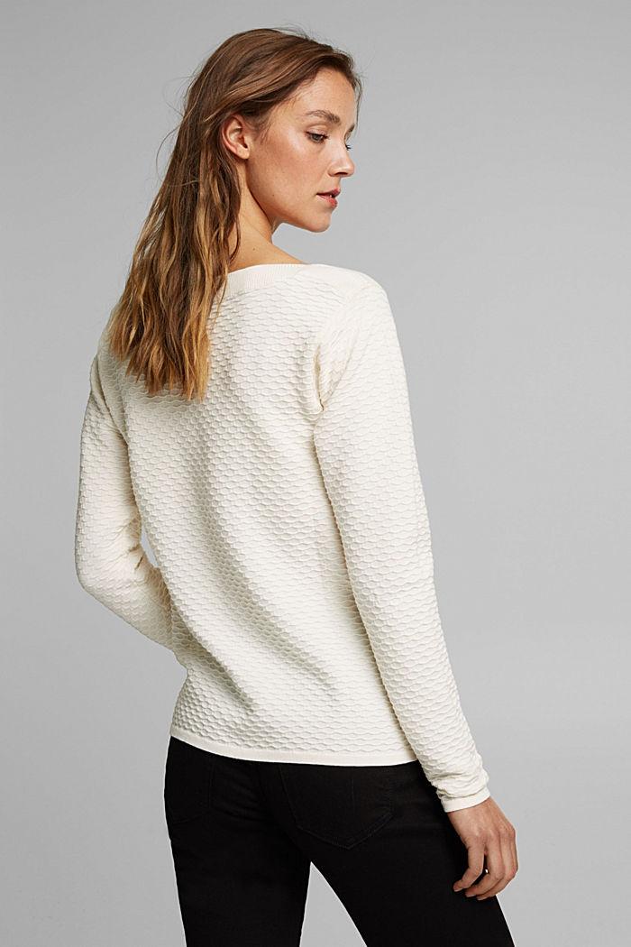 Sweter z fakturą z mieszanki bawełnianej, OFF WHITE, detail image number 3