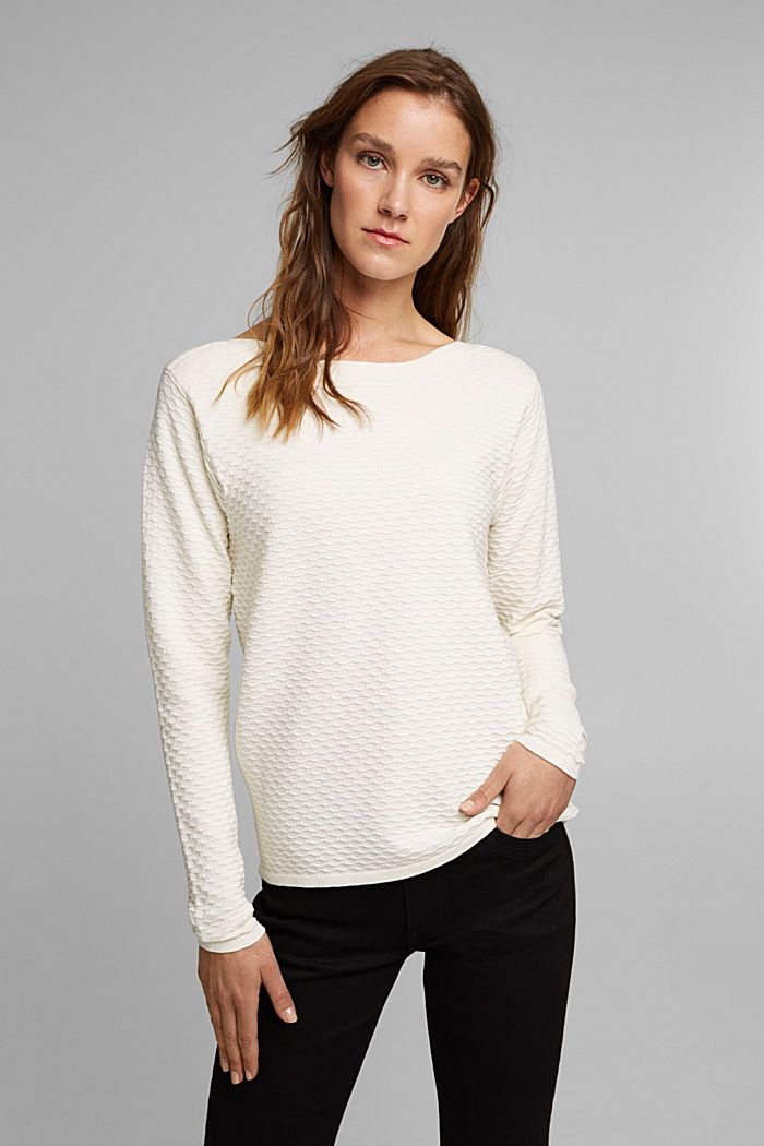 Textured jumper in blended cotton, OFF WHITE, detail image number 5