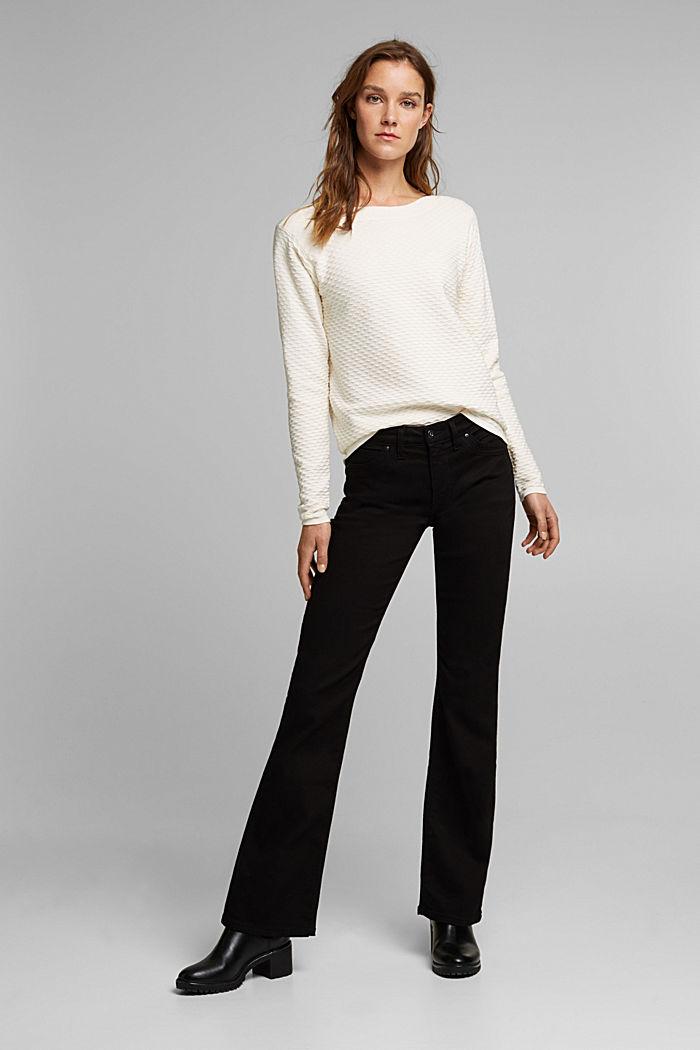 Sweter z fakturą z mieszanki bawełnianej, OFF WHITE, detail image number 1