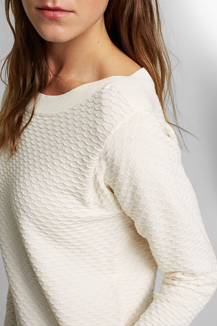 Textured jumper in blended cotton, OFF WHITE, detail image number 2