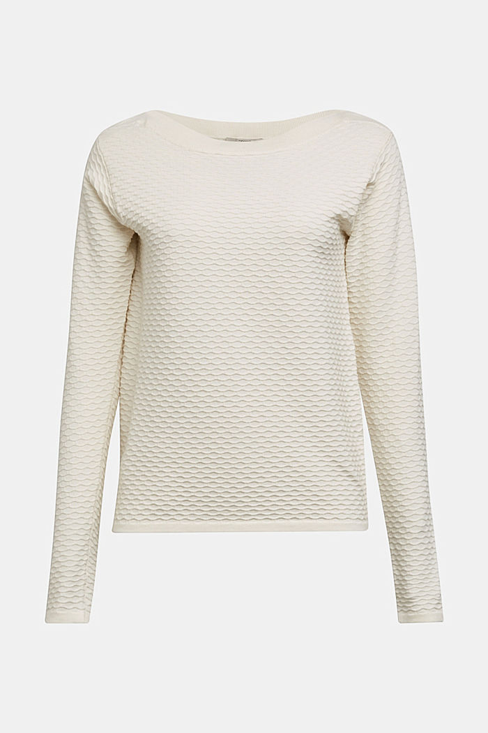 Textured jumper in blended cotton, OFF WHITE, overview