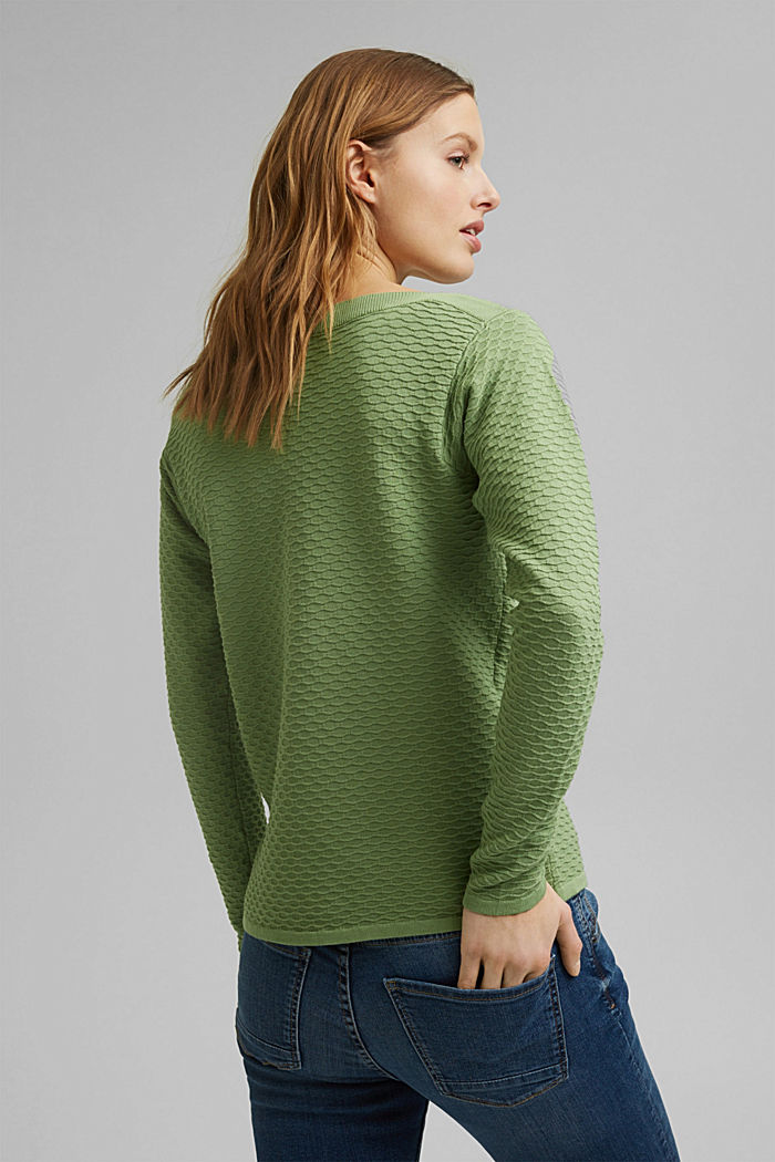 Pullover strutturato in misto cotone, LEAF GREEN, detail image number 3