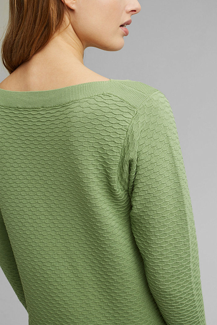 Pullover strutturato in misto cotone, LEAF GREEN, detail image number 2