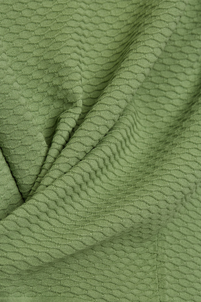 Pullover strutturato in misto cotone, LEAF GREEN, detail image number 4