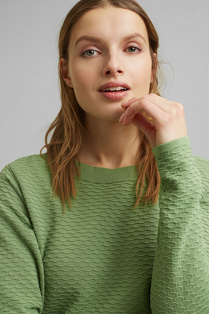 Pullover strutturato in misto cotone, LEAF GREEN, detail image number 6