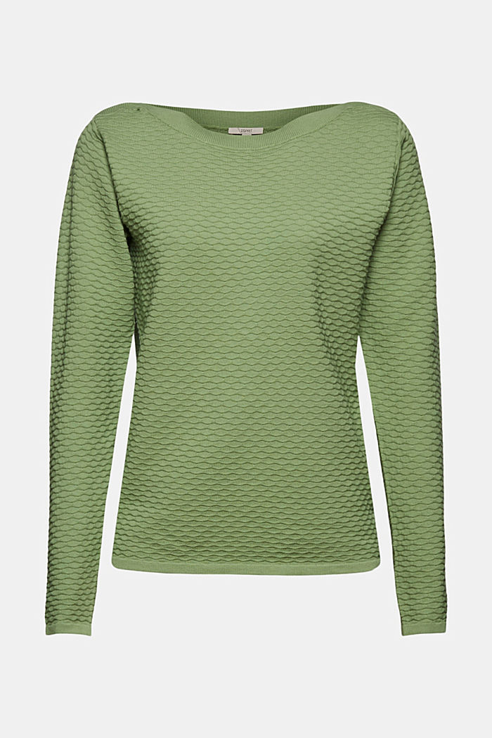 Textured jumper in blended cotton, LEAF GREEN, overview