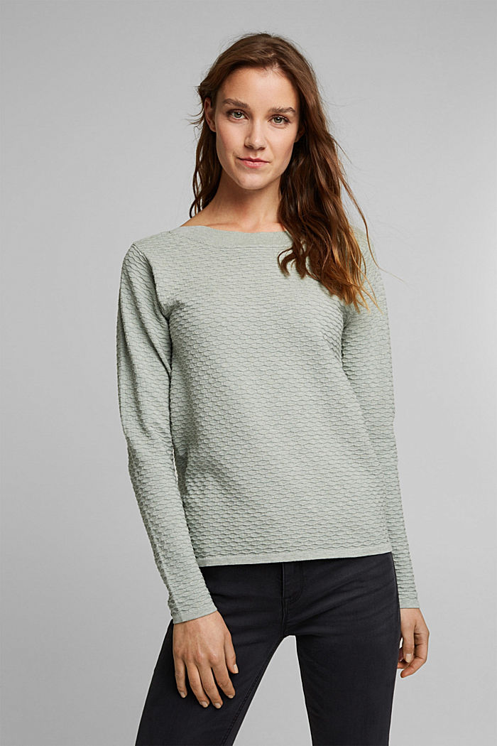 Textured jumper in blended cotton, DUSTY GREEN, detail image number 0
