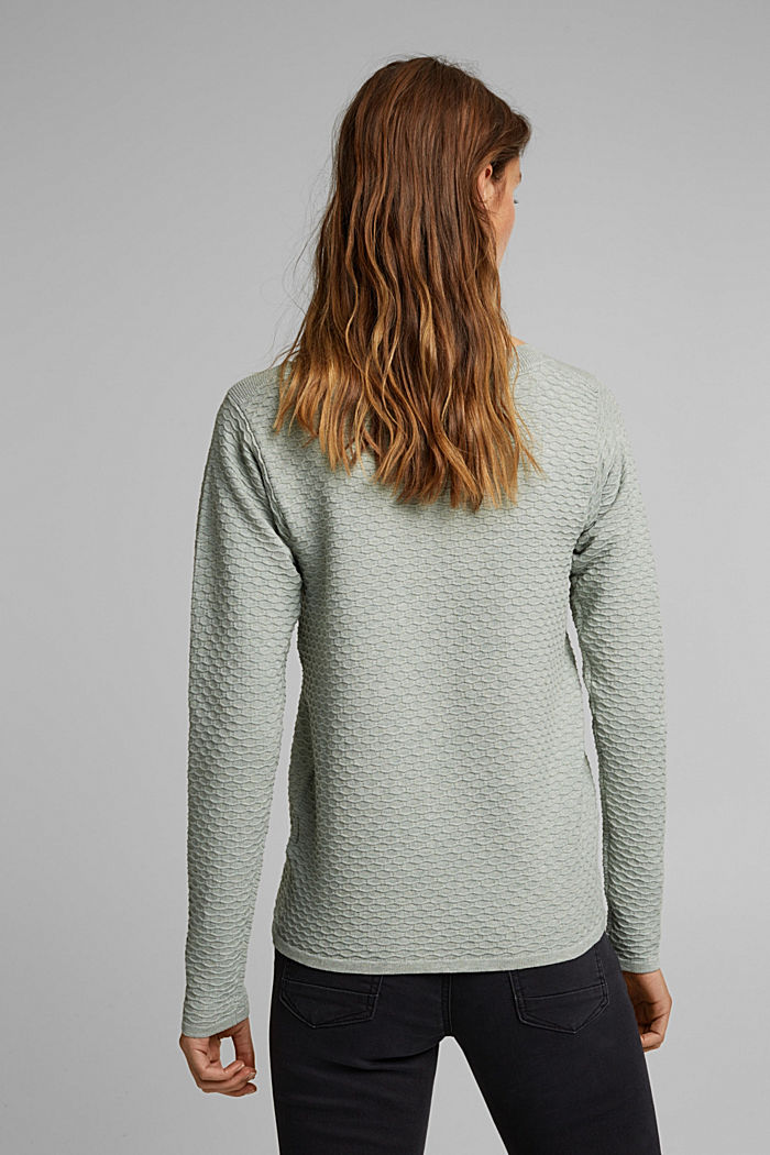 Textured jumper in blended cotton, DUSTY GREEN, detail image number 3