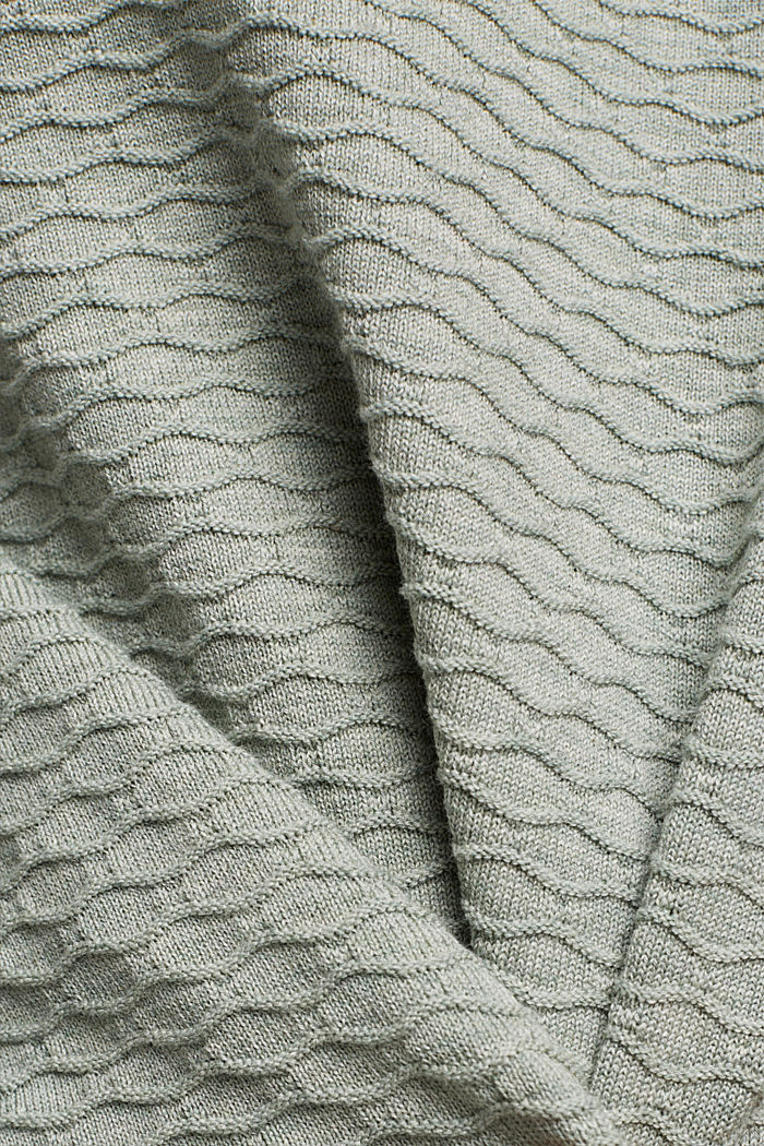 Textured jumper in blended cotton, DUSTY GREEN, detail image number 4