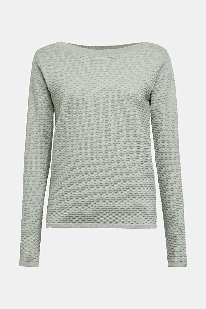 Textured jumper in blended cotton, DUSTY GREEN, detail image number 5