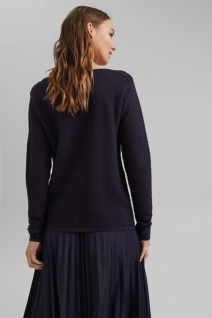 Textured jumper in blended cotton, NAVY, detail image number 3