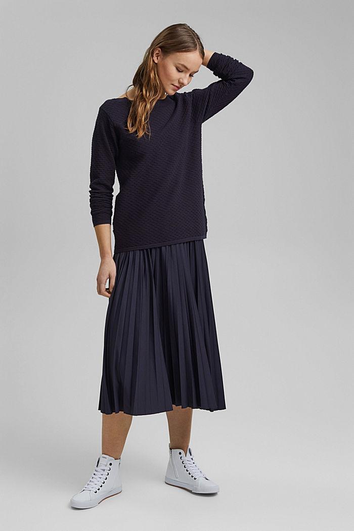 Textured jumper in blended cotton, NAVY, detail image number 1