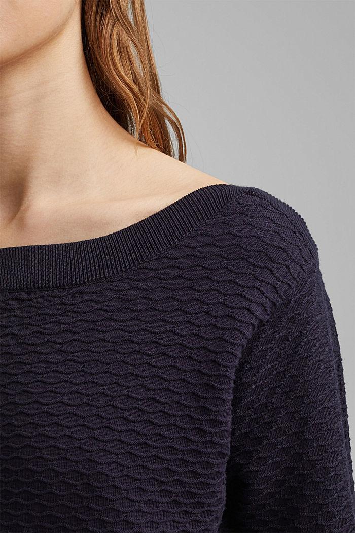 Textured jumper in blended cotton, NAVY, detail image number 2