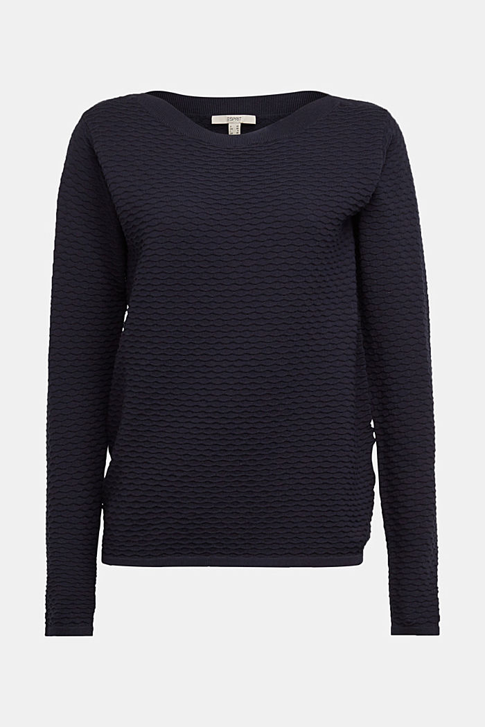 Textured jumper in blended cotton, NAVY, overview