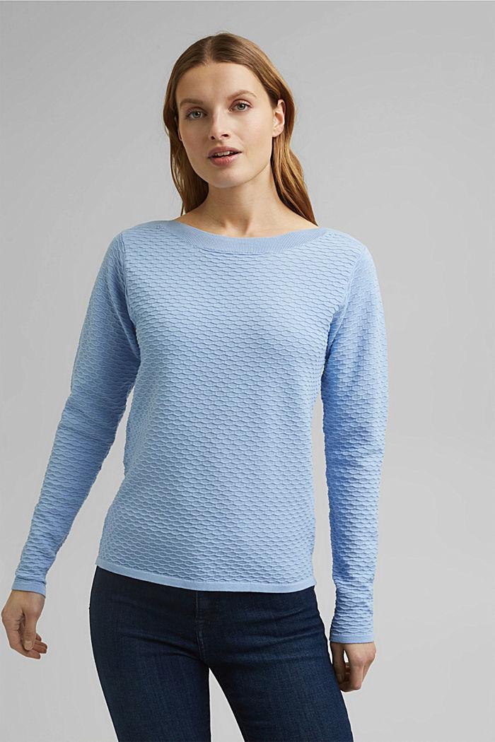 Struktur-Pullover aus Baumwoll-Mix, PASTEL BLUE, detail image number 0