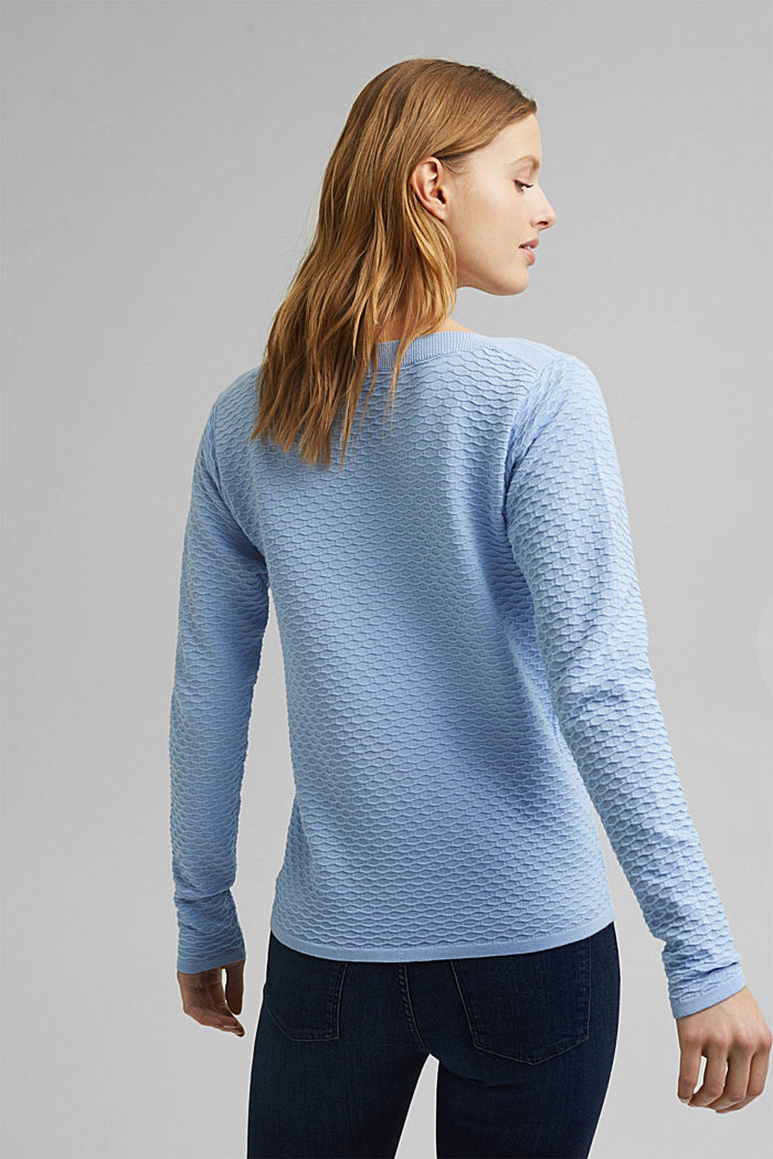 Struktur-Pullover aus Baumwoll-Mix, PASTEL BLUE, detail image number 3