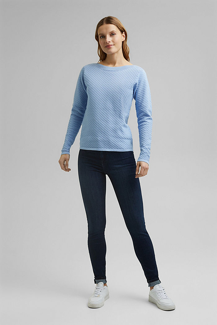 Struktur-Pullover aus Baumwoll-Mix, PASTEL BLUE, detail image number 1
