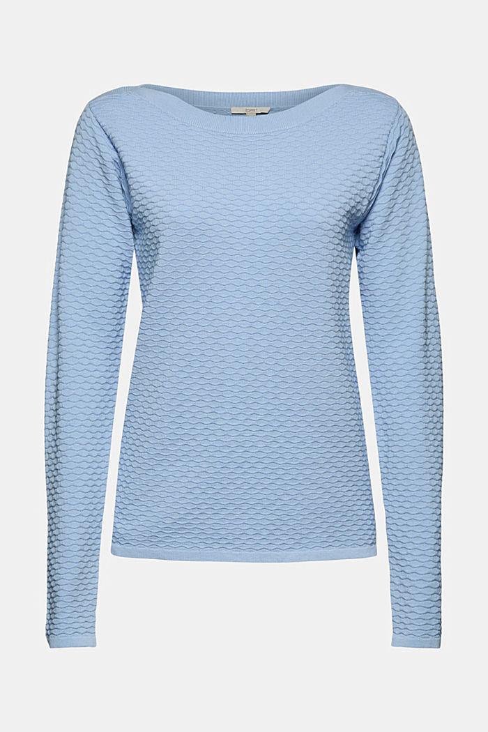 Struktur-Pullover aus Baumwoll-Mix, PASTEL BLUE, detail image number 5