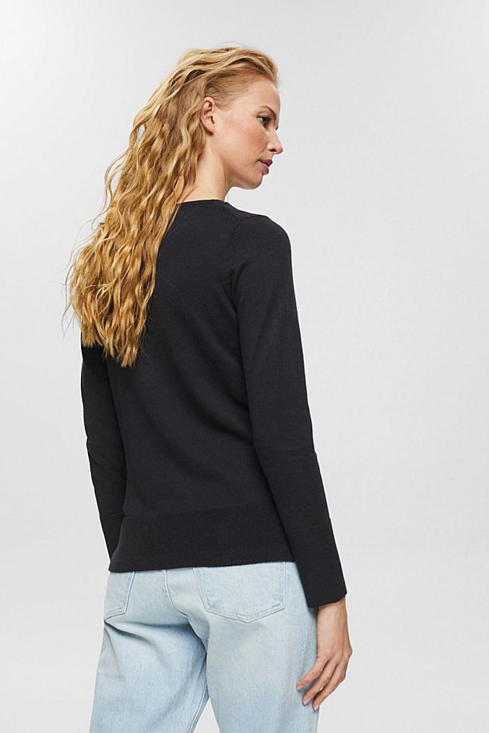 Basic jumper with organic cotton, BLACK, detail image number 3