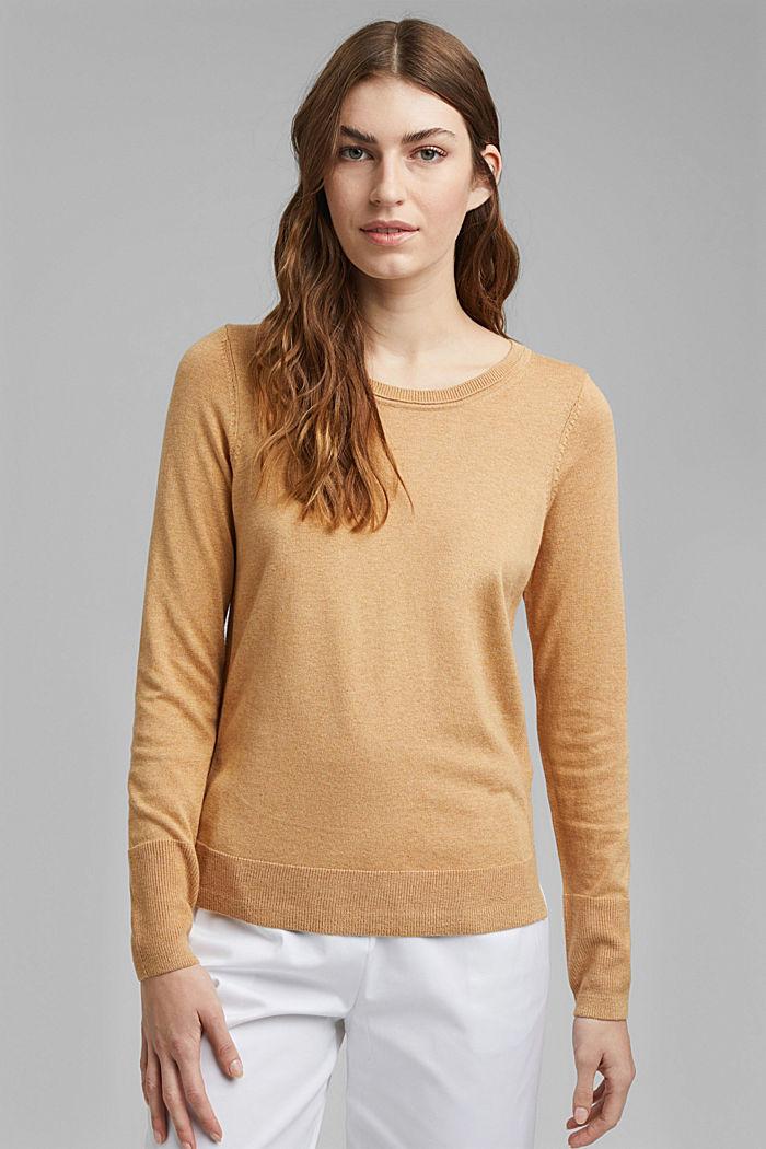Pullover basic con cotone biologico, KHAKI BEIGE, detail image number 0