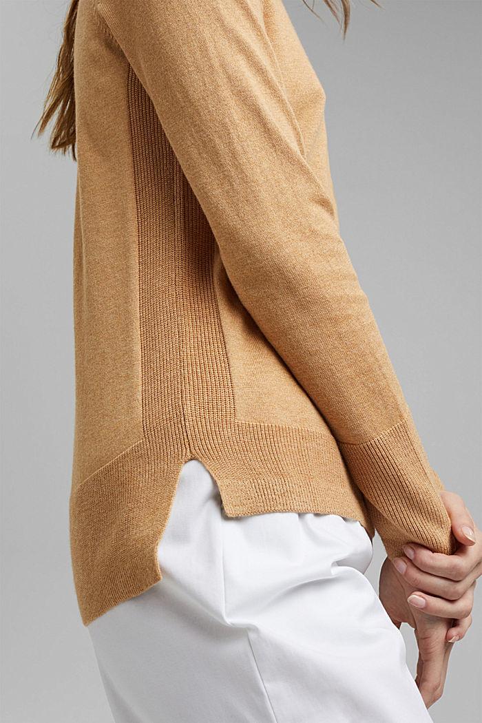 Pullover basic con cotone biologico, KHAKI BEIGE, detail image number 2
