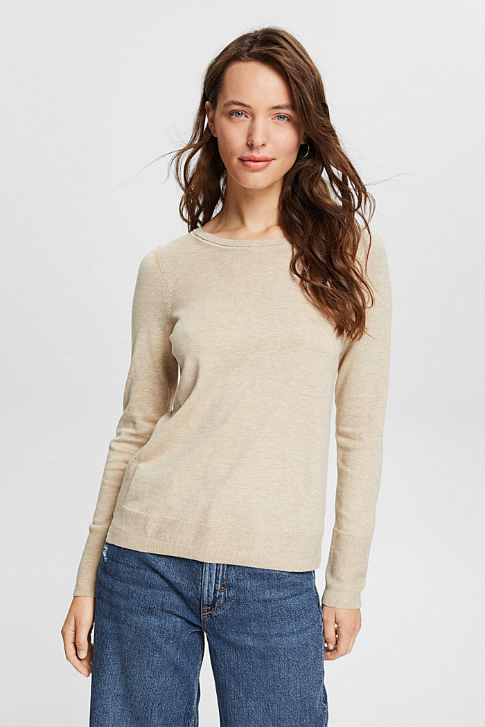 Basic jumper with organic cotton, SAND, detail image number 0