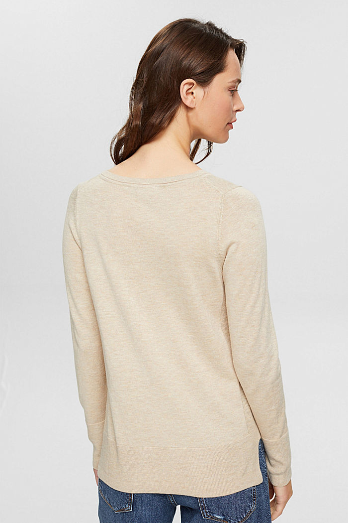 Basic jumper with organic cotton, SAND, detail image number 3