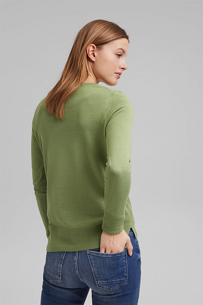 Basic jumper with organic cotton, LEAF GREEN, detail image number 3